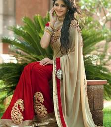 Buy cream  and  red embroidered georgette saree with blouse bollywood-saree online