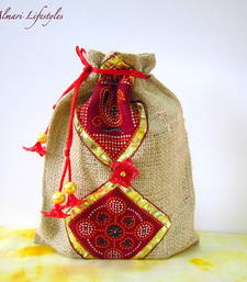 Buy Jute and Red printed bag potli-bag online