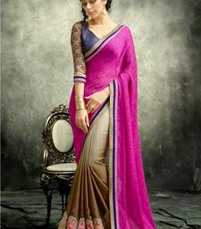 Buy Magenta  and  Brown embroidered satin saree with blouse satin-saree online