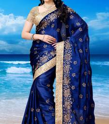 Buy Navy Blue embroidered satin saree with blouse traditional-saree online