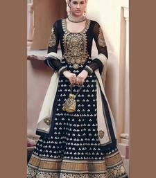 Buy Black Velvet and  Georgette Embroidered semi_stitched salwar with dupatta party-wear-salwar-kameez online