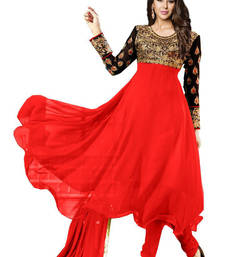 Buy Red georgette embroidered semi_stitched salwar with dupatta anarkali-salwar-kameez online