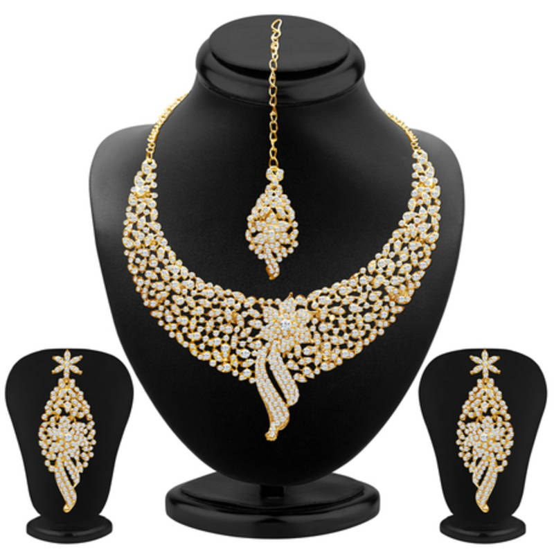 Buy Sleek Gold Plated Ad Stone Necklace Set Online