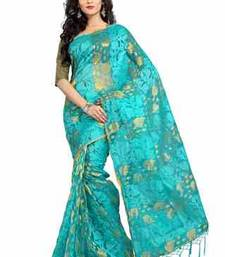 Buy Sky Blue plain chiffon saree with blouse tissue-saree online