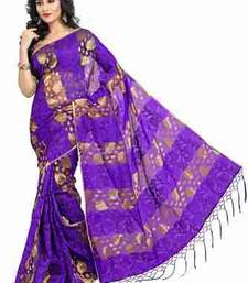 Buy Purple plain chiffon saree with blouse tissue-saree online