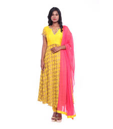 Buy Yellow and pink woven Raw Silk stitched salwar with dupatta readymade-suit online