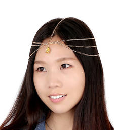 Buy Water Drop Gem head chain Headband Jewelry Women Layered Hair Accessories 2015 Tassel Headpiece Hair Band New maang-tikka online