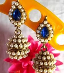 Buy Dark Blue Leaf Pearl Jhumki Earring jhumka online