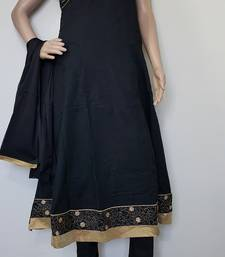 Buy Black cotton embroidered stitched salwar readymade-suit online