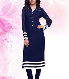 Buy Navy Blue Faux Georgette plain kurti georgette-kurti online