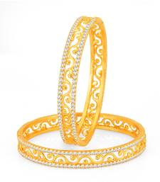 Buy Incredible Gold Plated Set OF 2 Australian Diamond Bangle bangles-and-bracelet online