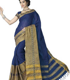 Buy Blue and Gold printed cotton saree with blouse cotton-saree online