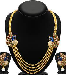Buy Gleaming Peacock Four Strings Gold Plated Necklace Set necklace-set online