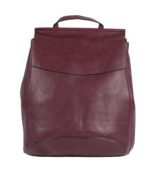 Buy Maroon plain backpacks backpack online