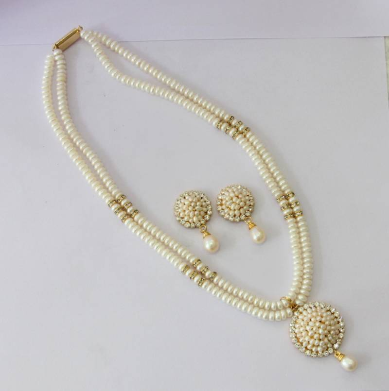 Buy REAL PEARLS DOUBLE STRING WHITE PEARLS SET Online