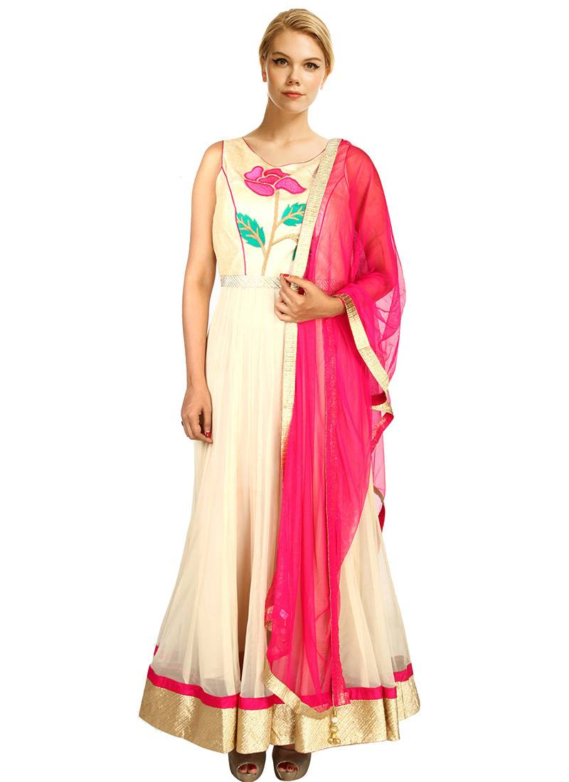 Buy Beige Color Net And Dupion Thread Embroidery And