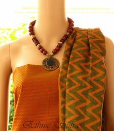 Green and Orange Tussar silk shop online