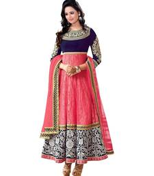 Buy pink embroidered georgette semi stitched salwar with dupatta anarkali-salwar-kameez online