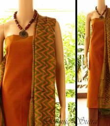Green and Orange Tussar silk
