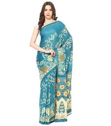 Buy Sky blue printed chiffon saree with blouse chiffon-saree online