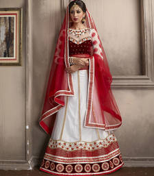 Buy Tantalizing Off White Embroidered Lehenga Choli punjabi-lehenga online