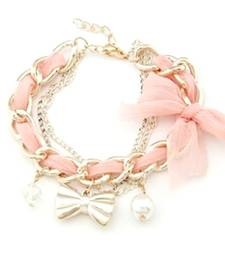 Buy Golden bowknot bracelet-Baby Pink Bracelet online