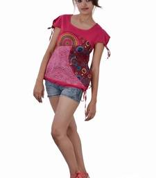 Buy Cotton Print And Plain Pink Color  Top top online