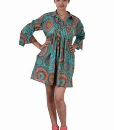 Buy Cotton Printed C.Green Color  Dress long-top online
