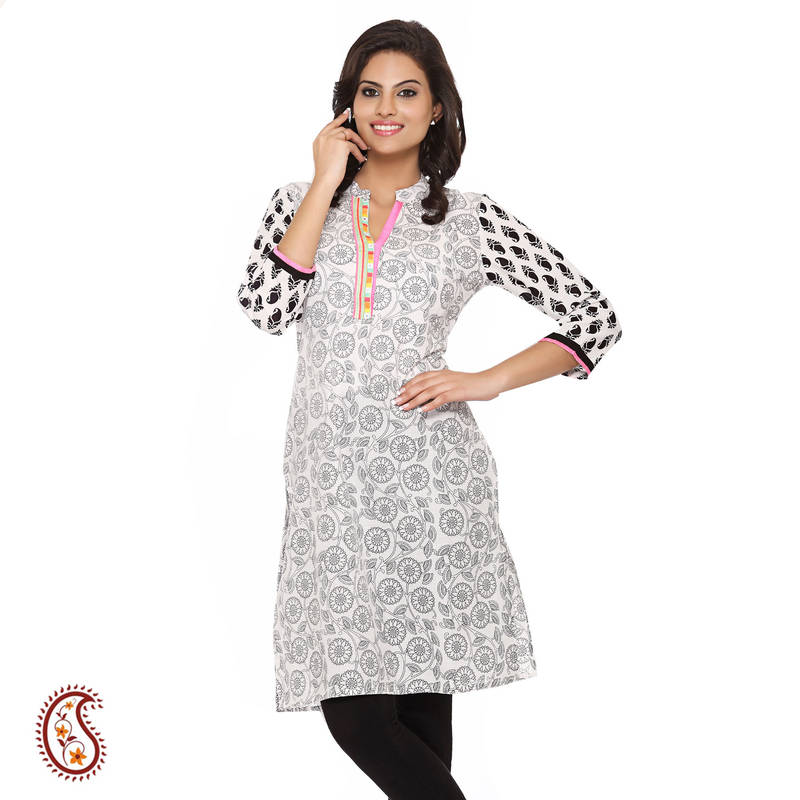Stand Collar Kurta Designs : Buy medallion print black and white pure cotton kurti with