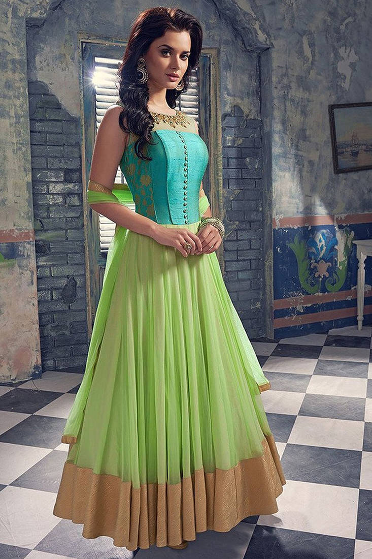 Buy Sky Blue And Light Green Georgette Print Semi Stitched Salwar With Dupatta Online