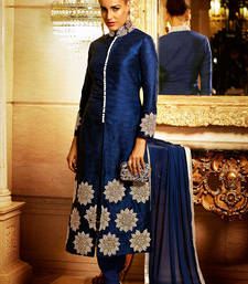 Buy Blue Bhagalpuri Silk Heavy Floral Embroidery Work semi_stitched salwar with dupatta salwar-kameez-below-2000 online