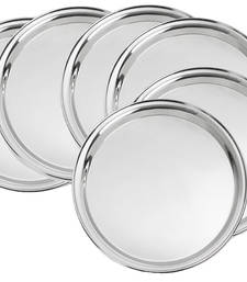 Buy Stainless steel Round Dinner Plate Set of   6 pcs decorative-plate online