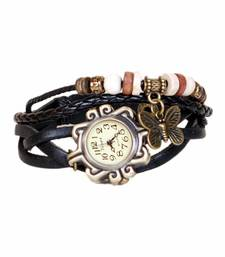 Buy black Designeer Leather Watch Watch gifts-for-sister online