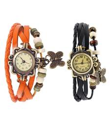 Buy orange black Designeer Combo Leather Watch Watch gifts-for-sister online