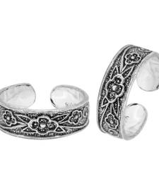 Buy 925 Sterling Silver Oxidised Floral Fetish Toe Rings and  Adjustable Si toe-ring online