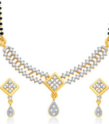 Buy Shimmering Gold and Rhodium Plated CZ Mangalsutra Set For Women mangalsutra online