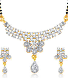 Buy Designer Gold and Rhodium Plated CZ Mangalsutra Set For Women mangalsutra online