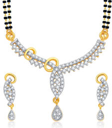 Buy Pretty Gold and Rhodium Plated CZ Mangalsutra Set For Women mangalsutra online