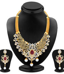 Buy Sparkling Gold Plated AD Necklace Set For Women necklace-set online