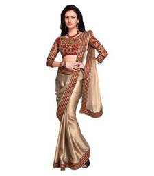 Buy Gold embroidered Chiffon saree with blouse chiffon-saree online