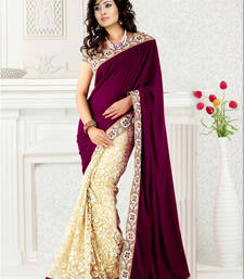 Buy Exclusive designer Purple color Faux Georgette saree velvet-saree online