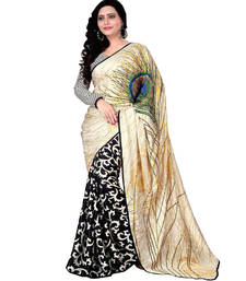 Buy Cream And Black Printed Georgette Half Half Saree With Blouse printed-saree online