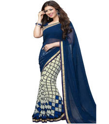 Buy Blue And White Printed Georgette Half Half Saree With Blouse printed-saree online
