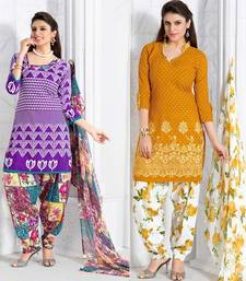 Buy Purple andYellow Printed Cotton unstitched salwar with dupatta dress-material online