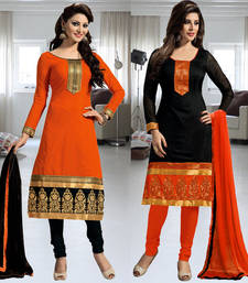 Buy Orange and Black Embroidered Chanderi unstitched salwar with dupatta salwar-combo online