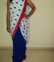 Buy Blue Paisley print saree cotton-saree online