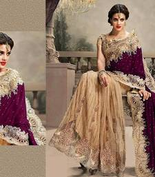 Buy Wine embroidered net saree with blouse net-saree online