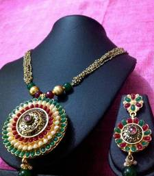 Buy Red , Green, White Pearls with Antique Work Necklace Set v582  Necklace online