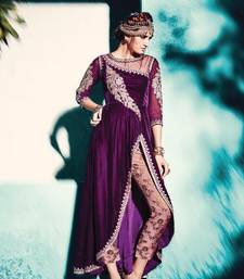 Buy Purple embroidered velvet semi stitched salwar with dupatta party-wear-salwar-kameez online