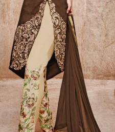 Buy Brown embroidered art silk semi stitched salwar with dupatta party-wear-salwar-kameez online